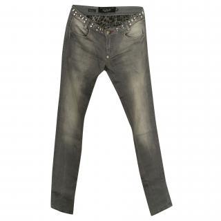 Phillipp Plein Embellished Waist Grey Jeans
