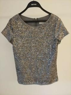 Zadig & Voltaire Deluxe Short Sleeve Silver Gray Lined sequin top Blouse