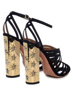 Aquazzura Black with gold Trinity Stars Heels sandals