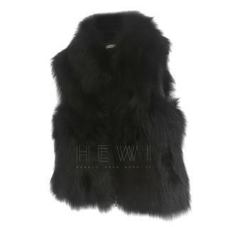 Marbella black fox fur gilet