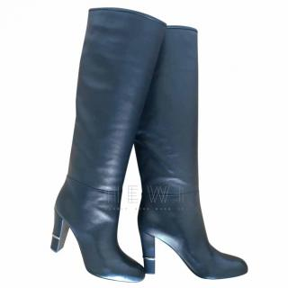 Sergio Rossi new black leather heeled knee boots