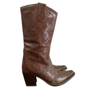 Free Lance Paris brown leather cowboy boots