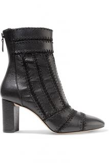 Alexandre Birman black leather stitch ankle boots