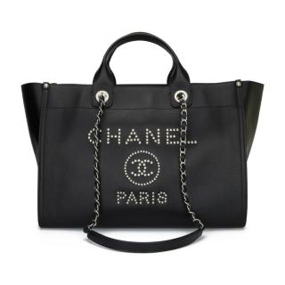 CHANEL Black Caviar Leather Medium Studded Deauville Tote Bag