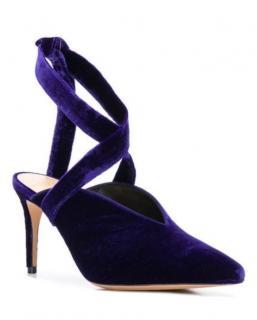 Alexandre Birman Purple leather and velvet pointed mule pumps