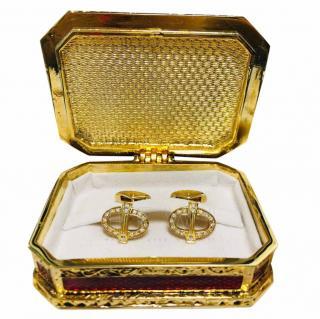 Faberge 18k Yellow Gold 0.42ct Diamond Cufflinks
