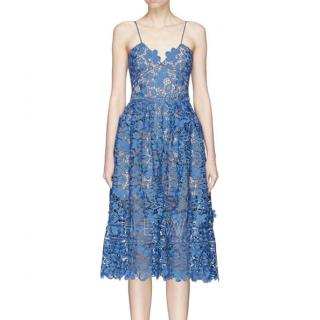 Self Portrait blue broderie anglaise dress