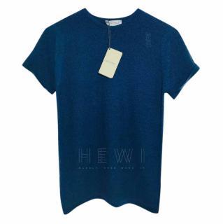 John Smedley Merino Wool Navy T-shirt