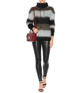 Saint Laurent Striped Mohair Blend Roll Neck Sweater