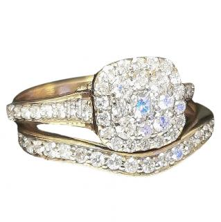 Bespoke 14k Yellow Gold Diamond Bridal Ring Set