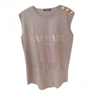 Balmain Grey Logo Embellished Vest