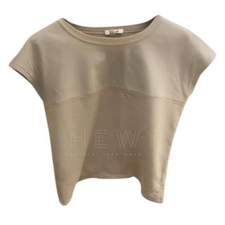 Helmut Lang Leather Paneled Grey Top