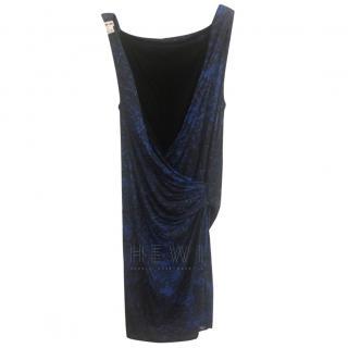 Helmut Lang Draped Blue & Black Dress
