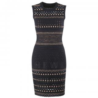 Alaia Geometric Cutwork Angora Wool Blend Dress
