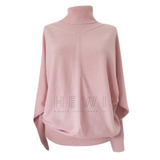 Max Mara Pink Raglan Wool Roll Neck Sweater
