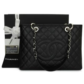 Chanel Caviar Leather Grand Shopping Tote in Black