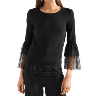Michael Kors Collection Lace-trimmed stretch-jersey top
