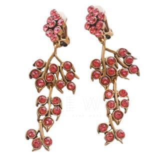 Oscar De La Renta Pink Crystal Floral Drop Earrings