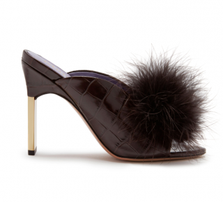 Mulberry Feather Pompom Chocolate Brown Croc Print Greta Mules