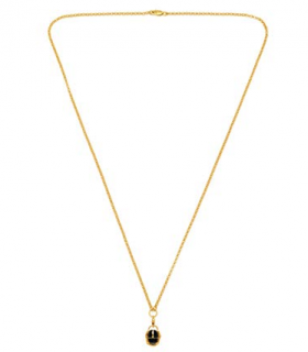 Maria Francesca Pepe Gold Plated Black Enameled Scarab Charm Necklace