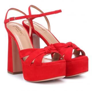 Aquazzura Red Baba Platform Sandals