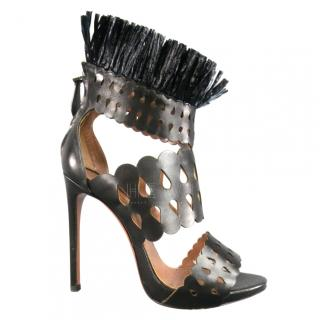 Alaia Laser-Cut Fringed Sandals