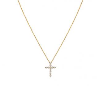 Tiffany & Co. Yellow Gold Diamond Cross Pendant