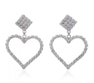 Alessandra Rich crystal heart earrings