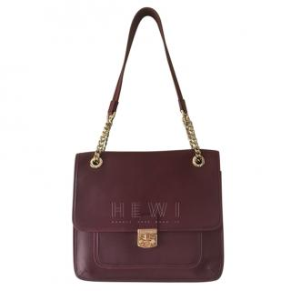 A. Testoni Burgundy Leather Shoulder Bag