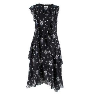Erdem x H&M Navy Floral Ruffled Dress