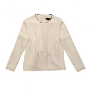 Alexander Wang Ecru Embellished Collar Top