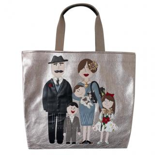 Dolce & Gabbana Family Patch Metallic Shopper
