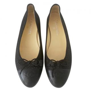 Chanel Black Metallic Leather Ballerina Flats