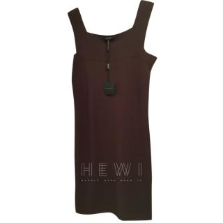 Sarah Pacini chocolate brown slip dress