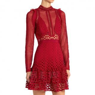 Self Portrait Raspberry Hall Lace Dress