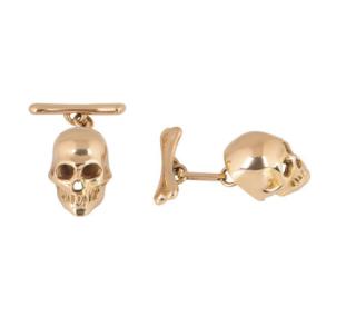 Bespoke 18k Rose Gold Skull Cufflinks