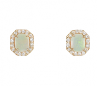 Kimberly McDonald Rose Gold, Opal & Diamond Earrings