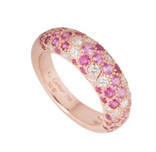 �tincelle de Cartier Diamond Pink Sapphire 18k Rose Gold Band Ring
