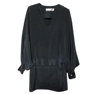 Tara Jarmon Black Silk Scoop Neck Dress