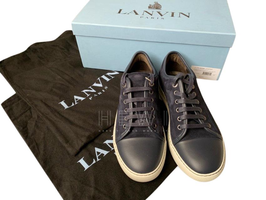 Lanvin Blue Suede & leather Cap Toe Sneakers