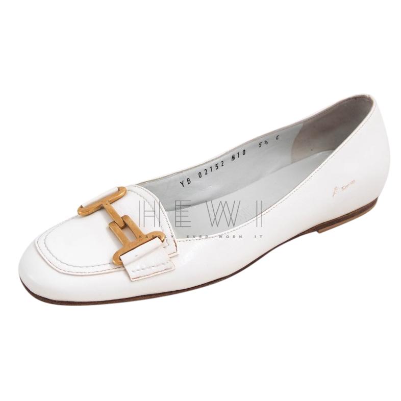 Salvatore Ferragamo White Gancio Leather Loafers