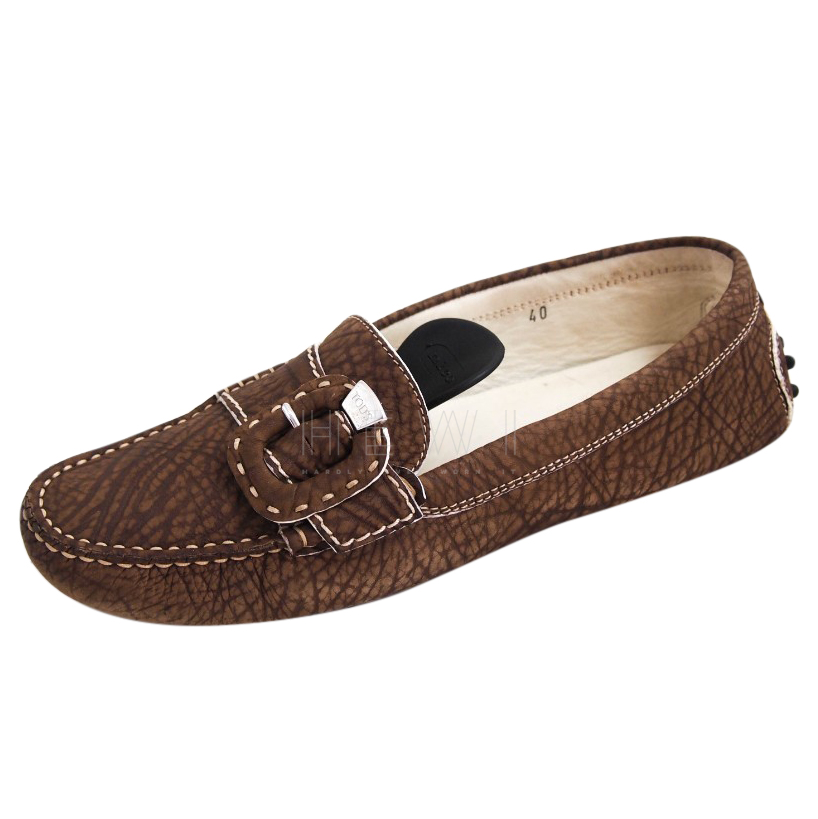 Tod's Brown Textured Contrast Stitch Loafers