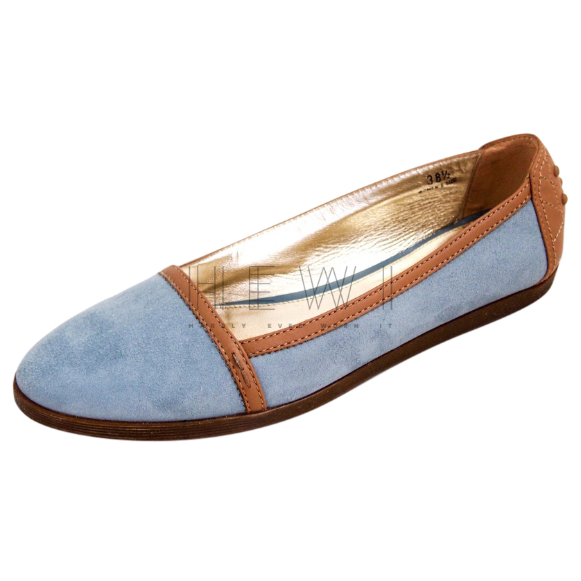 Tod's Blue Suede Leather Trim Loafers
