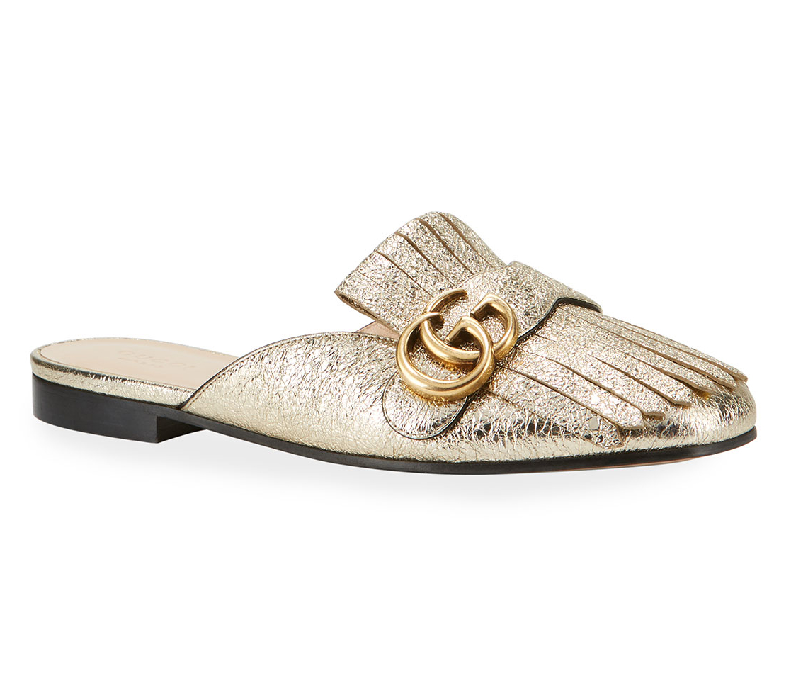 Gucci 10mm Marmont Metallic Mules