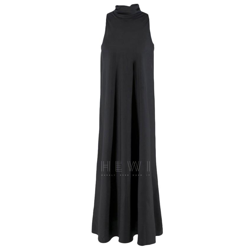The Row Black Silk Tie Neck Sleeveless Dress
