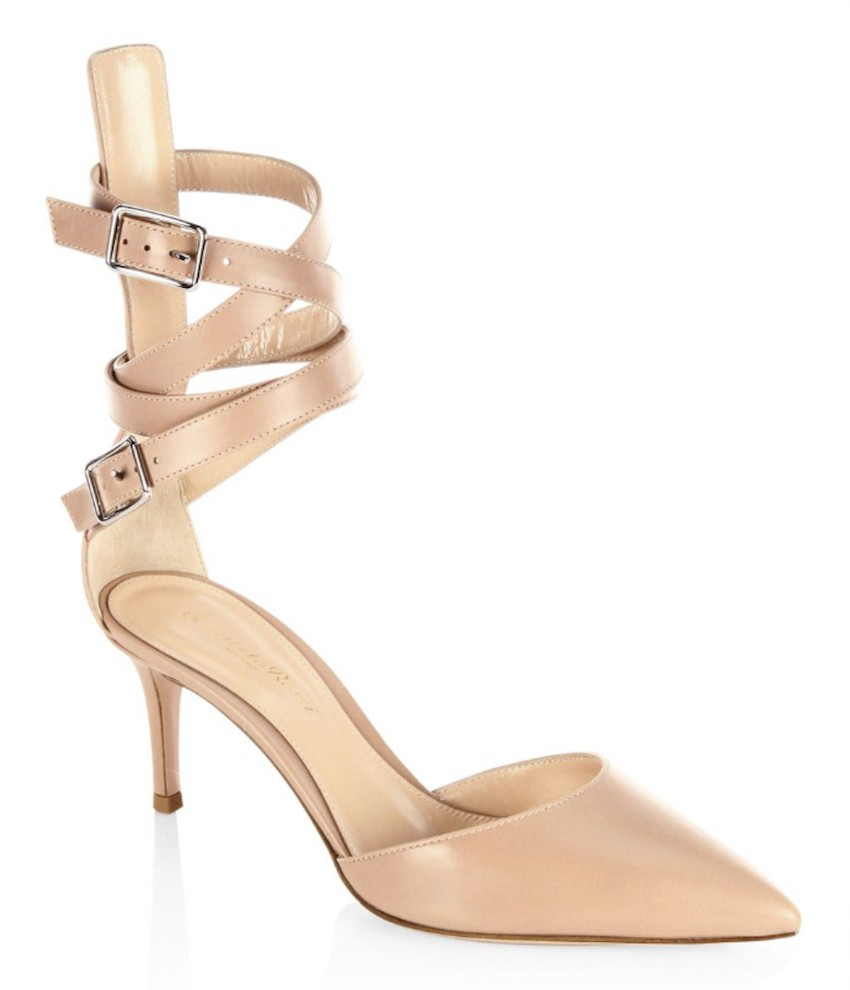Gianvito Rossi Aleris D' Orsay 70 Leather Ankle-Wrap Pumps