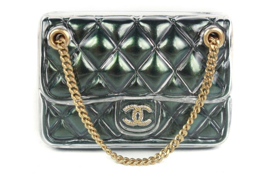 Chanel Green Quilted Bag Brooch Pin