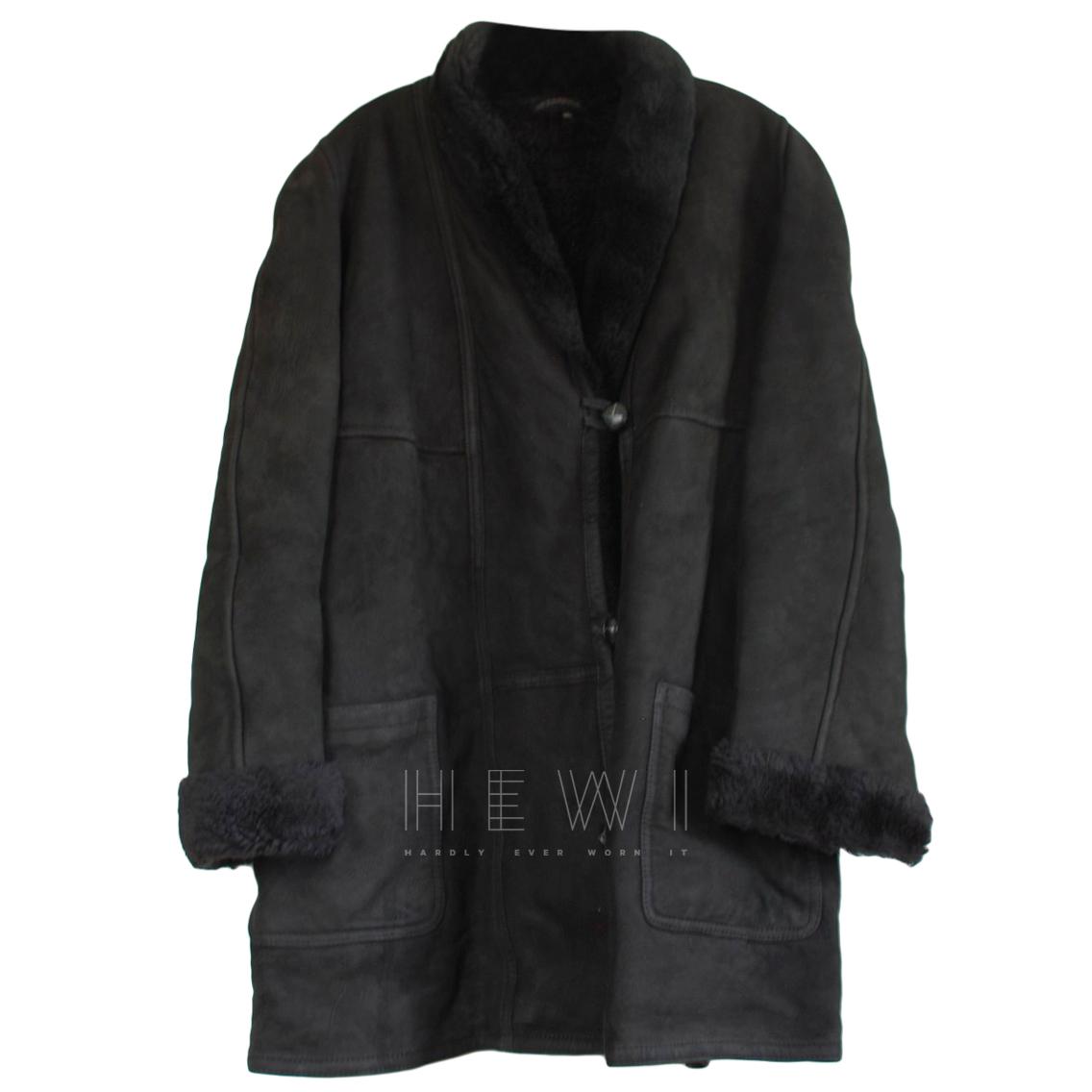 Oscar De La Renta Black Shearling Jacket
