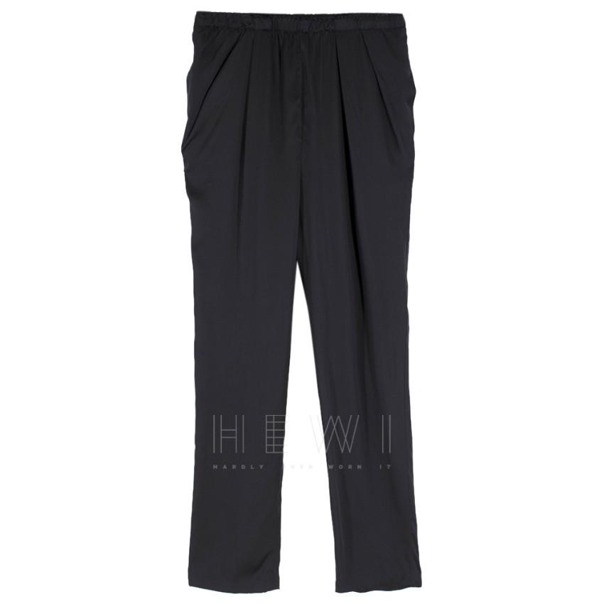 Lanvin Black Satin Pleat Waist Trousers