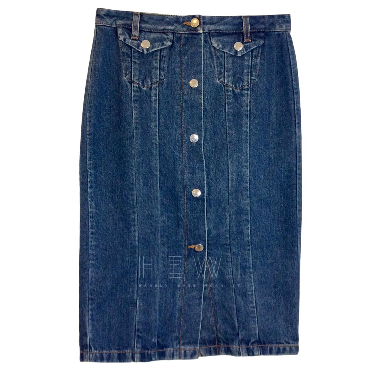 Acne Studios Blue Denim Pencil Skirt
